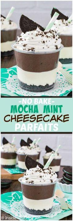 No Bake Mocha Mint Cheesecake Parfaits - layers of mocha and mint cheesecake and cookie crumbs makes this an easy no bake dessert recipe for summer picnics!