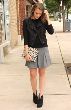 Penny Pincher Fashion: Work to Weekend - Mental note to pair these items from my closet: black moto sweatshirt + gray pencil skirt + black and white calf hair animal print clutch + black heeled ankle booties