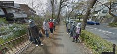 funny or creepy you descide. 25 Amazing Things to See on Google Street View: Eight people standing in two lines while wearing pigeon masks.