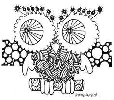Very playful zentangle artwork by  skinnystraycat, via Flickr