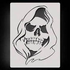 Grim Reaper Stencil - Bing images Skull Stencil, Tattoo Stencils, Stencil Art, Reaper Drawing, Scull Drawing, Leather Tooling Patterns, Skull Artwork, Demon Art, Air Brush Painting