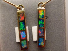 Amazing Inlay Harlequin Black Opal Dangle Earrings 14k Gold