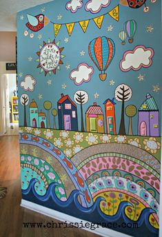 painted wall mural using acrylic craft paints:)great for kids room Mural Painting, Mural Art, Wall Art, Painted Wall Murals, Photowall Ideas, School Murals, Playroom, Wall Decor, Wallpaper