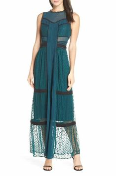 Women's Harlyn Embroidered Dot Evening Dress, Size X-Small - Blue/green Maid Of Honour Dresses, Dress The Population, Lace Sheath Dress, Sheer Chiffon, Fit Flare Dress, Nordstrom Dresses, Occasion Dresses, Pretty Outfits, Dress Making