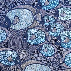 drucken usw Druck & Muster: TEXYILES - ulrika gyllstad Work Uniforms: Dress Better Than The Rest Whe Motifs Textiles, Textile Patterns, Floral Patterns, Batik Pattern, Pattern Art, Fish Patterns, Print Patterns, Stoff Design, Fish Design