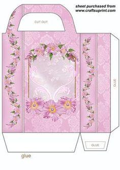 Pink floral gift bag 2 on Craftsuprint designed by Stephen Poore -