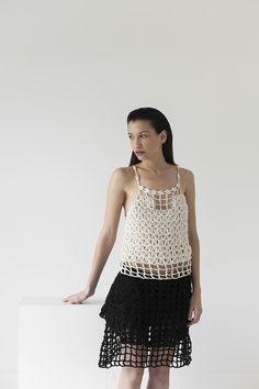 Link top and scene skirt, cotton ribbon, handmade, crochet, knitwear, tejidos, fibras naturales, Net SS2016, Maydi