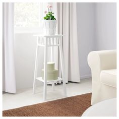 Buy online or in-store. IKEA - LANTLIV, Plant stand, white, A plant stand makes it possible to decorate with plants everywhere in the home. Lawn Furniture Cushions, Ikea Canada, Ikea Plants, White Plants, Flower Stands, French Country Decorating, Designer, Interiors, Floral Arrangements
