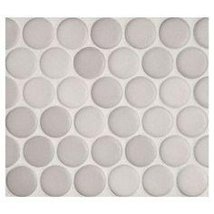 "Complete Tile Collection Penny Round Mosaic - Light Diamante - Matte, 1"" Round Glazed Porcelain Penny Mosaic Tile, Anti-Microbial, Anti-Odor, Anti-Staining Technology, MI#: 063-Z1-250-046, Color: Light Diamante"