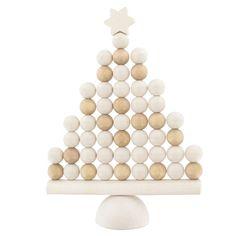 Add festive style to your interiors with this white Nordic Christmas tree table top and mantelpiece ornament. Christmas Tree Table Decorations, Christmas Tree On Table, Wooden Christmas Trees, Scandinavian Christmas, Noel Christmas, Decoration Table, All Things Christmas, White Christmas, Christmas Ornaments
