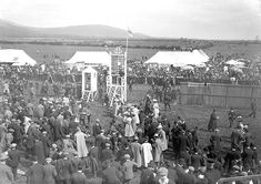 Race day at Dundalk Race Course in Co. Louth (thanks to rafferr for identifying the race course). Date: Circa 1907 NLI Ref. Pittsburgh Skyline, Seattle Skyline, Paris Skyline, New York Skyline, Race Day, Horse Racing, Aerial View, Old Photos, Horses