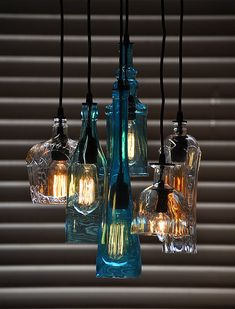 The Glendora Recycled Bottle Light Chandelier von MoonshineLamp
