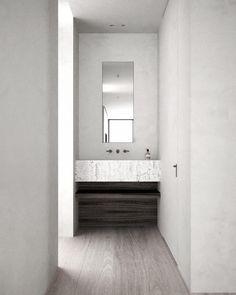 Penthouse throwback. Same apartment, different measure made roman travertine sink. Brilliant faucet design (again) by Jason Wu for @brizofaucet #interior #architecture #penthouse #hardwood #bathroom #brizofaucet #travertine #mırror #details #aesop #wallnut