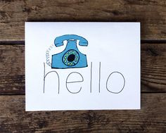 missing you card   hello love greeting card by wanderandroar, $4.00