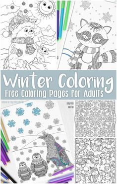 Printable winter coloring pages for adults and big kids | Easy Peasy and Fun --- Penguins, snow, and mandalas