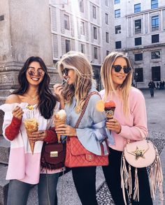 """19.2k Likes, 299 Comments - Milena Karl (@milenalesecret) on Instagram: """"happy ice cream gals during #MFW // it was so nice to have @jannid in our blogger squad ❤️"""""""