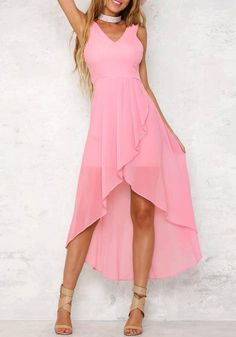 16.02 Pink Irregular Double-deck Ruffle Zipper V-neck Fashion Maxi Dress  online with. Bychicstyle.com 25b4caf60