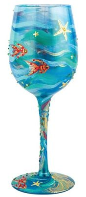 """""""Mermaid"""" Wine Glass by Lolita (Hula Island). Bought this today. Absolutely beautiful....the mermaid is on the other side. They should have shown this in the picture!"""