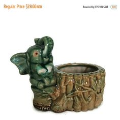 ON SALE Lucky Elephant Planter, Mid Century Pottery, Green Hand... ($24) ❤ liked on Polyvore featuring home and home decor