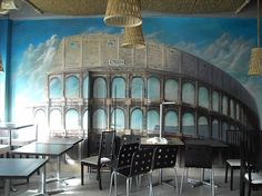 Coliseum mural in a pizzeria Opera House, Commercial, Pizza, Hand Painted, Building, Buildings, Construction, Opera