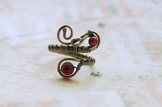 Garnet Ring Silver Adjustable Ring Wire Wrapped Gemstone