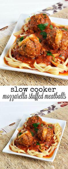 Slow Cooker Mozzarella Stuffed Meatballs and Pasta Recipe (Paleo Slow Cooker Meatballs) Crock Pot Slow Cooker, Crock Pot Cooking, Slow Cooker Recipes, Crockpot Recipes, Cooking Recipes, Pasta Recipes, Dinner Recipes, Dinner Ideas, Lamb Recipes