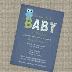 owl baby shower invitations baby boy by freshlysqueezedcards, $12.00