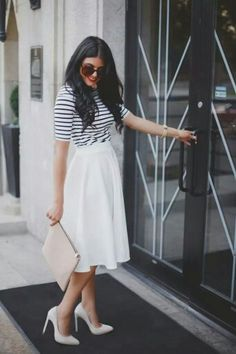 White Midi Skirt for Summer Days Jw Fashion, Modest Fashion, Fasion, Womens Fashion, Fashion News, Fashion Black, Skirt Fashion, Unique Fashion, Fashion Trends