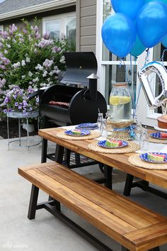 Father's Day Party on the Patio - Ella Claire Fathers Day Ideas For Husband, Best Husband, Happy Birthday Cards, Diy Cards, Patio, Backyard, Claire, 4th Of July, Balloons