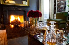 Aerin Lauder's coffee table set for cocktails.