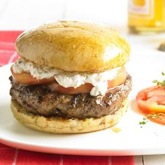 This delicious taste on a classic burger is made with lamb and feta cheese spread. Recipe: http://www.bhg.com/recipe/hearty-boys-greek-lamb-feta-burgers/