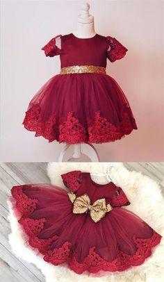0ff5263af39 Burgundy Scoop Neck Short Sleeve Lace Appliques A Line Flower Girl Dresses   lace  sequin