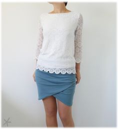 I like the skirt, not the top. Diy Fashion, Fashion Beauty, Fashion Outfits, Womens Fashion, Diy Mode, Couture Sewing, Couture Tops, Diy Clothes, Mini Skirts
