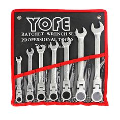 8,10,12,13,14,17,19mm 7 Sets Flexible Head Ratchet Spanner Combination Wrench Auto Repair Spanners Wrench Handle ools AD2007