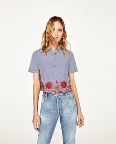 CROPPED STRIPED SHIRT-THE NEW FLORALS-WOMAN | ZARA United States