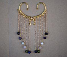 Gemstone Gold Ear Wrap | Garnet, Amethyst, Pearl, Rose Quartz, Pearl, Peridot, Lapis Lazuli, and 24k Gold Star | Steven Universe Crystal Gem