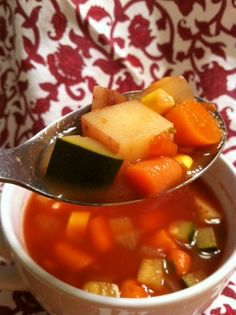 Forks Over Knives Summer Vegetable Soup. I added potatoes as well, and more fresh corn. I love this soup I could eat it every day! #VEGAN
