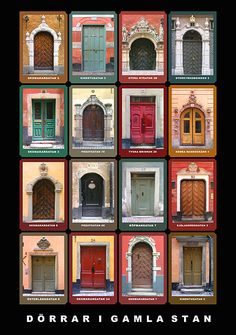 Doorways of Gamla Stan, Sweden poster.    ASPEN CREEK TRAVEL - karen@aspencreektravel.com