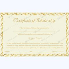 13 best certificate of scholarship templates images on pinterest