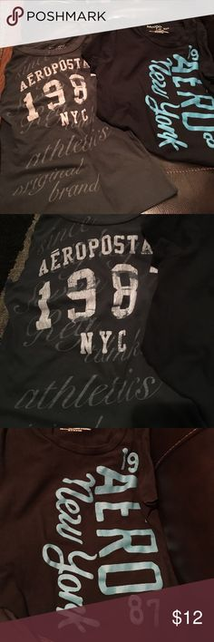 Two Aeropostale tshirts.. Two Aeropostale tshirts. One black and turquoise and one dark grey with light grey writing... black is large and grey small.. they both fit like smalls to me.. good used condition Aeropostale Tops Tees - Short Sleeve