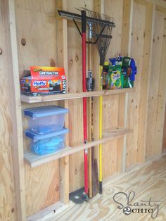 Shed Organization Idea! We are finally getting temps under 150 degrees here in Texas, so I got an itch to get started organizing my new WoodTex Shed! My goal in this shed is to Diy Storage Shed Plans, Storage Shed Organization, Backyard Storage Sheds, Wood Shed Plans, Garden Tool Storage, Garage Storage, Storage Ideas, Backyard Sheds, Outdoor Storage