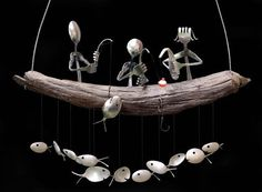 Family of 3 Fishing Trip and Spoon Fish Wind Chime | Crafts, Handcrafted & Finished Pieces, Home Décor & Accents | eBay!