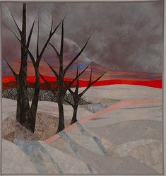 Art quilt landscape by Ruth Powers. Fiber Art And Quilt Art Workshop: Designing and Sewing for Picture Piecing. April 12 - 18, 2015