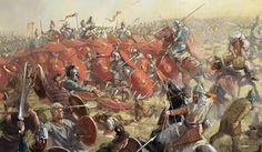 Batalla campos catalunicos entre romanos y visigodos vs Hunos
