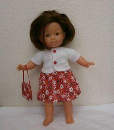 Jupe fleurie et gilet pour poupée de 36 cm Girls Dresses, Flower Girl Dresses, Summer Dresses, Etsy, Boutique, Vintage, Crochet, Fashion, Sewing Doll Clothes