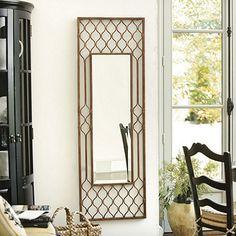 love the Moroccan-pattern mirror