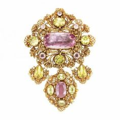 Antique Gold, Foiled-Back Pink Topaz and Yellow Chrysoberyl Cannetille Brooch.
