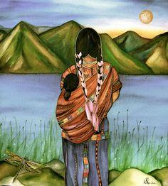 Mutter und Kind in Guatemala-Kunst-Druck-Aquarell