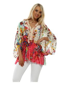 Stylish Port Boutique tops available online now at Designer Desirables. More summer tops delivered free with free returns Kaftan Tops, Kaftan Style, Beaded Sandals, Boutique Tops, Going Out Tops, Beach Tops, Summer Tops, Tassel, Floral Tops
