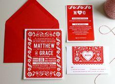 Papel Picado Wedding Invitation - Mexico - Fiesta - Mexican Banner - Destination Wedding